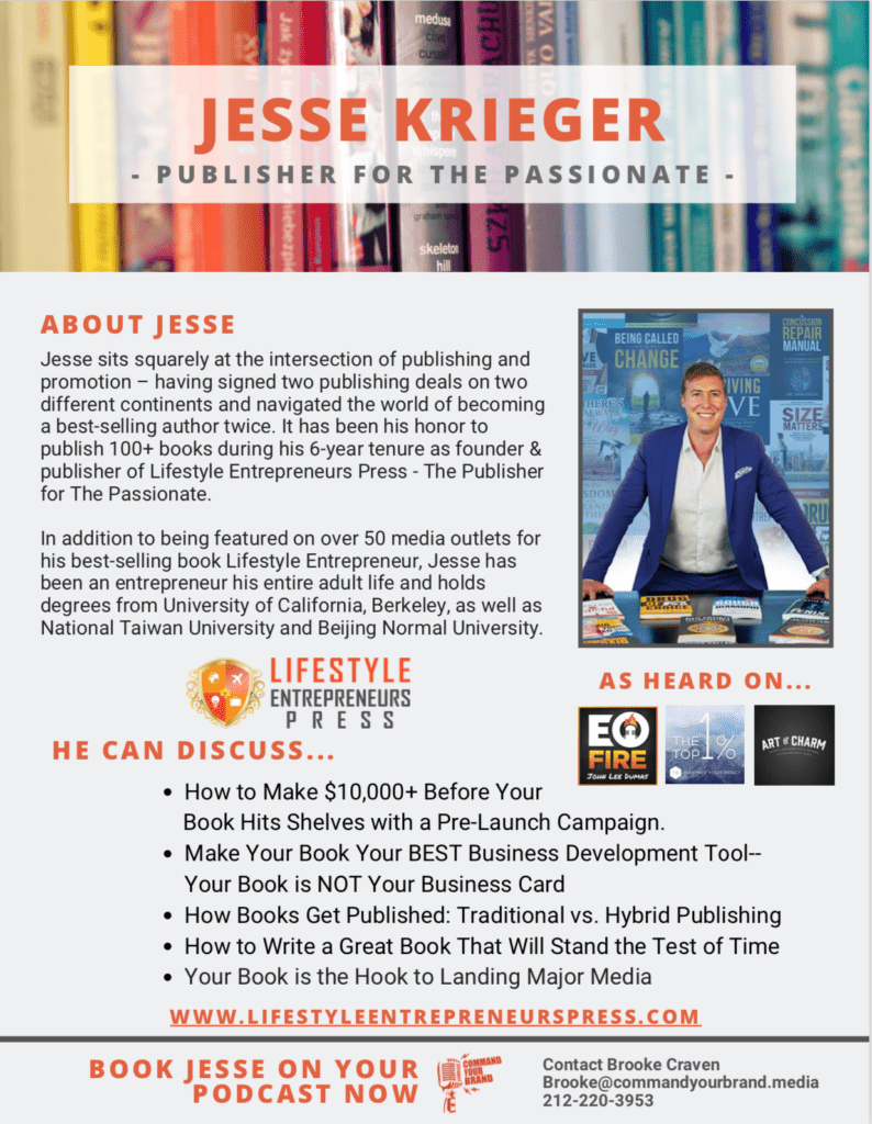 Jesse Krieger - Media One Sheet for Podcasts
